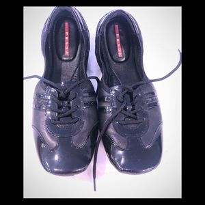 Prada lace up black dressy walking shoes 39.5